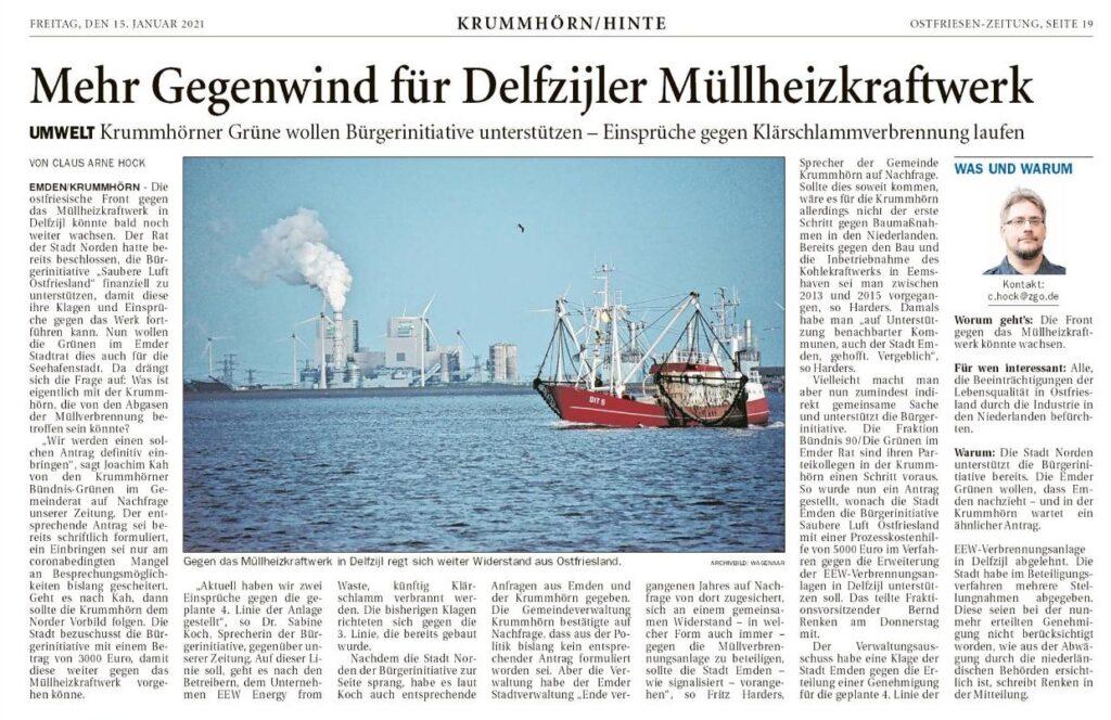 210115 OZ Mehr Gegenwind für Delfzijler Müllheizkraftwerk